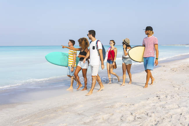 Группа друзей, гуляющих по пляжу, неся доски для серфинга — стоковое фото