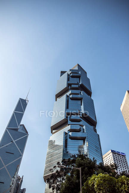 Hong Kong, Causeway Bay, Victoria Park, modern skyscrapers under blue sky — Stock Photo