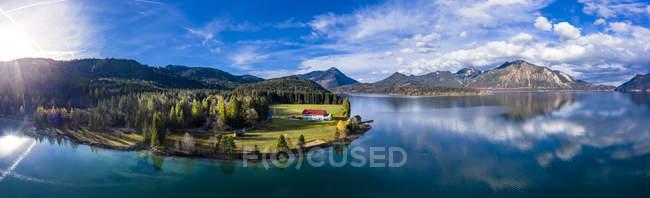 Allemagne, Bavière, Haute Bavière, Vue aérienne du lac Walchen — Photo de stock