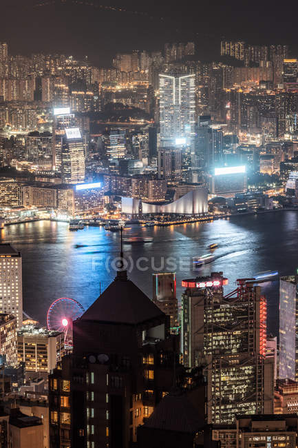 Hong Kong, Causeway Bay, paysage urbain la nuit — Photo de stock