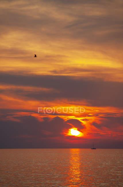 Croatie, Istrie, Porec, Mer Adriatique, Voilier au coucher du soleil — Photo de stock