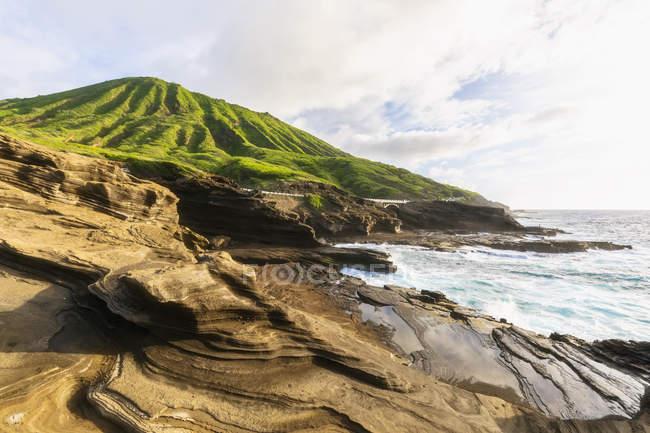 EUA, Havaí, Oahu, Lanai, Oceano Pacífico, Cratera Coco ao nascer do sol — Fotografia de Stock