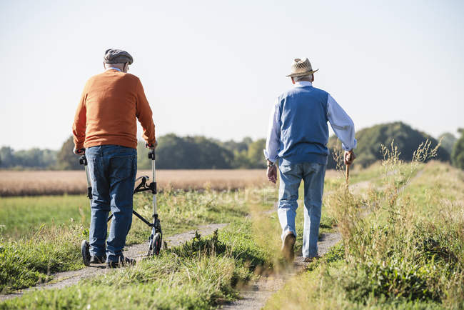 Old friends taking a stroll in the fields with walking stick and wheeled walker, talking about old times — Stock Photo