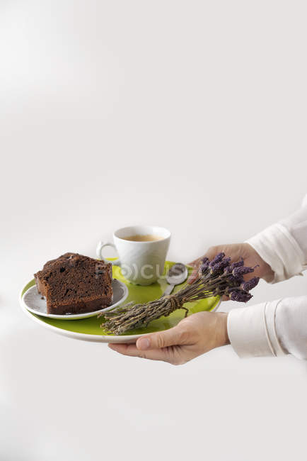 Homemade chocolate cake and cup of coffee on plate — стоковое фото