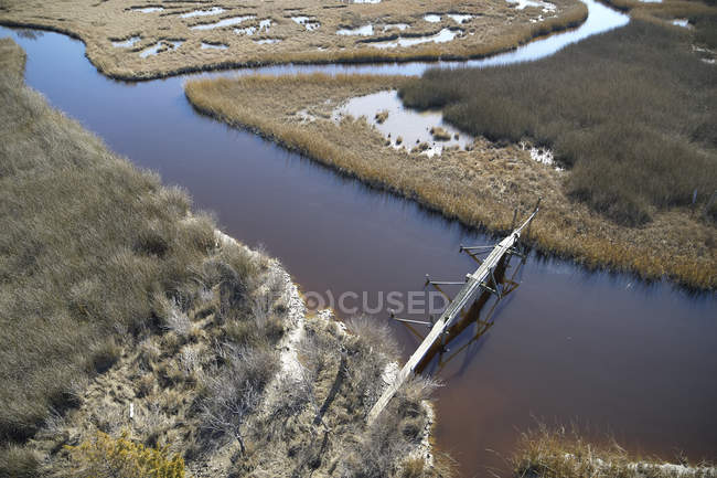 USA, Marsh on the eastern shore of Maryland with a walking path and pedestrian bridge, sea level rise due to global warming — Stock Photo