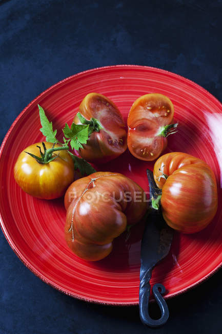 Tomates de ternera enteros y en rodajas 'Chocolate Stripes' en plato rojo - foto de stock