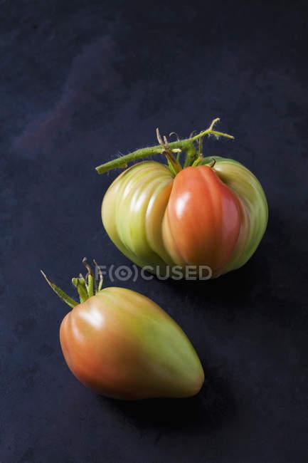 Two Oxheart tomatoes on dark ground — Stock Photo