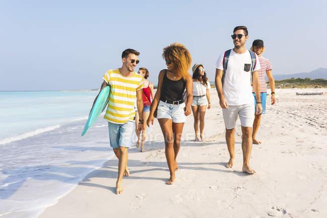 Група друзів ходьба на пляж, проведення дошки для серфінгу — стокове фото