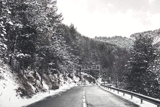 Andorra, mountain road in winter — Stock Photo