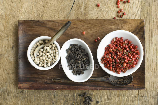 Bowls with various sorts of pepper — Stock Photo