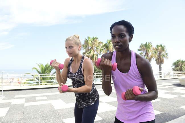Две женщины занимаются фитнесом с гантелями на свежем воздухе — стоковое фото