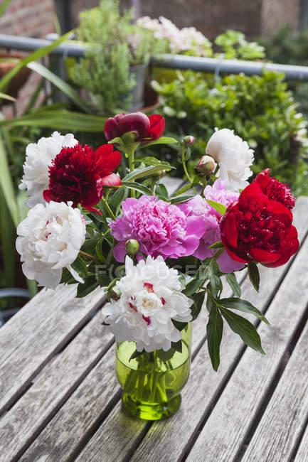 Bando de Peônias brancas, vermelhas e rosa em vaso na mesa de jardim — Fotografia de Stock