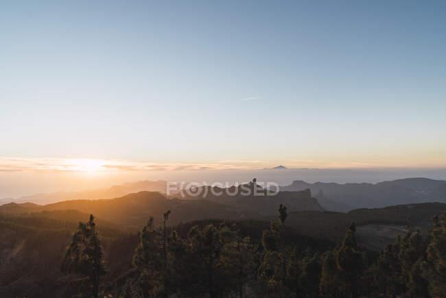 Spanien, Gran Canaria, Pico de las Nieves in der Dämmerung — Stockfoto