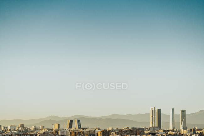 Spain, Madrid, cityscape with modern skyscrapers — Stock Photo