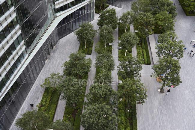 Royaume-Uni, Londres, vue sur le quartier financier avec des arbres dans la cour — Photo de stock