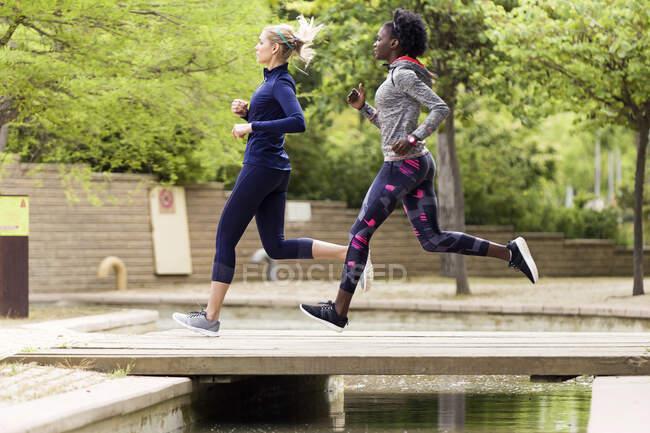 Due giovani donne sportive che corrono insieme in un parco — Foto stock