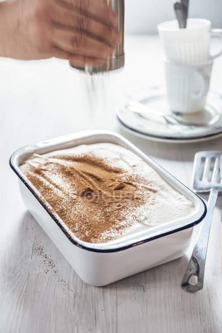 Tiramisu con crema de coco y cajú, batidora de cacao. - foto de stock