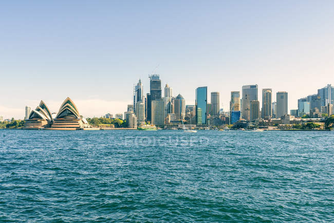 Australia, New South Wales, Sydney, skyline of Sydney with the port, financial district and the Opera house — Stock Photo