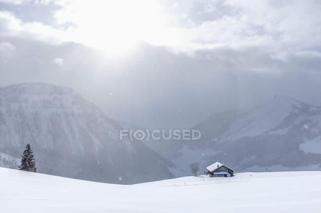 Áustria, estado de Salzburg, grupo de Osterhorn, área de esqui, paisagem do inverno no inverno — Fotografia de Stock