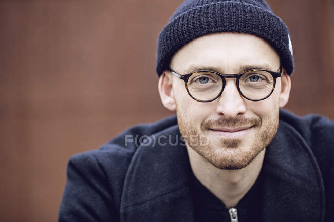 Portrait of a man, wearing beanie hat — Stock Photo