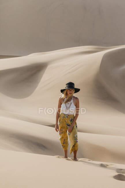 Намібія, Наміб, модна молода жінка, що стоїть на пустельній дюні. — стокове фото