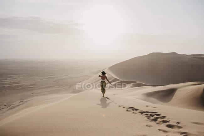 Намібія (Наміб), вигляд жінки, що стоїть на пустині, дивлячись на вид. — стокове фото