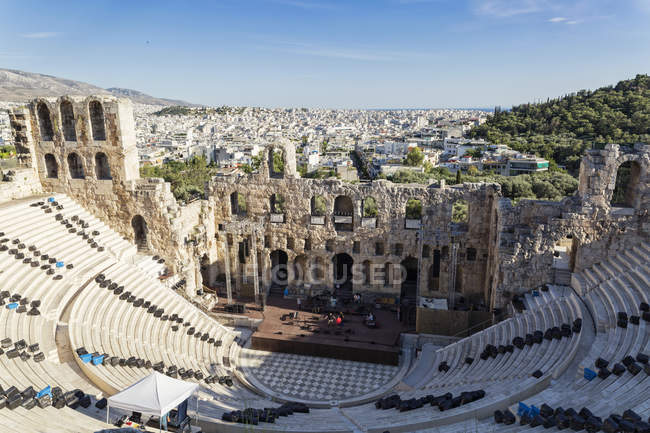Grecia, Atene, veduta su Odeone, teatro di Erode Attico — Foto stock