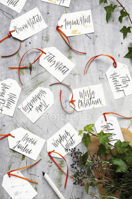 A multicultural Christmas: ready to use hand made gift tags with Merry Christmas written in multiple languages — Stockfoto