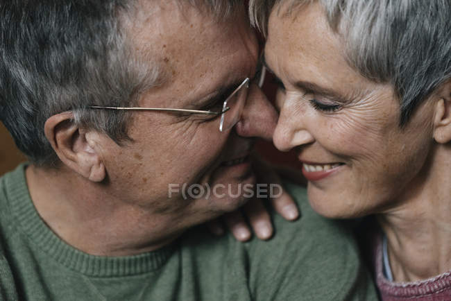 Close-up of happy affectionate senior couple — Stock Photo