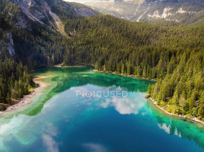 Italy, Trentino, South Tirol, Non Valley, aerial view of lake Tovel in summer — Stock Photo