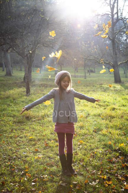 Junges Mädchen auf der Wiese im Herbst, Herbstblätter — Stockfoto