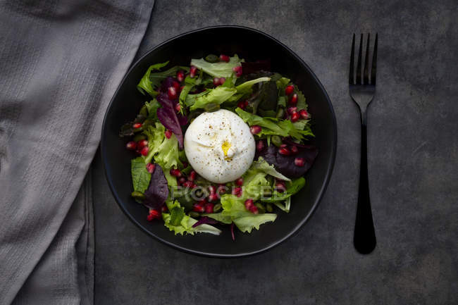 Oriental salad with mint, pistachios, pomegranate seeds and burrata cheese — Stock Photo
