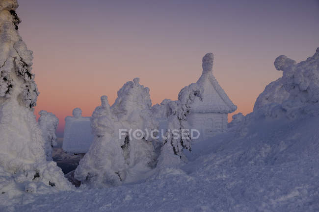 Allemagne, Bavière, Forêt bavaroise en hiver, Grand Arber, chapelle Arber enneigée — Photo de stock