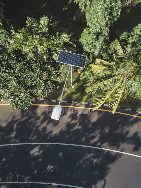 Indonesia, Bali, solar-powered street lamp, aerial view — Stock Photo