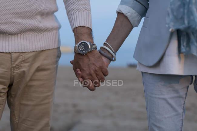 Close-up de casal sênior de mãos dadas na praia ao entardecer — Fotografia de Stock