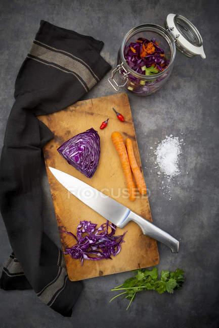 Preparazione di cavolo rosso fatto in casa, fermentato, con peperoncino, carota e coriandolo — Foto stock