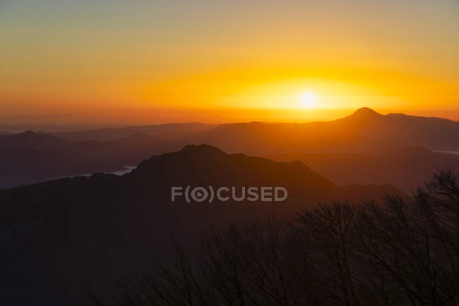 Italy, Umbria, Apennines, sunrise on mount San Vicino seen from mount Cucco Park — Stock Photo
