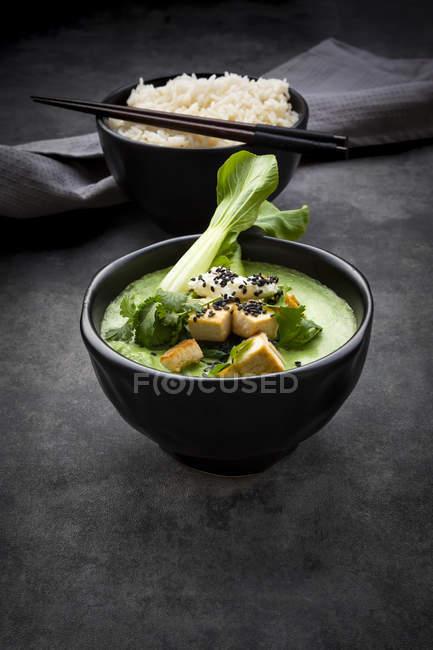 Grünes Thai-Curry mit Spinat, Pak Choi, Tofu, saurer Sahne, schwarzem Sesam und Jasminreis — Stockfoto