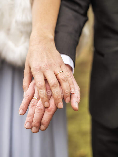Close-up of bride and groom holding hands — Stock Photo