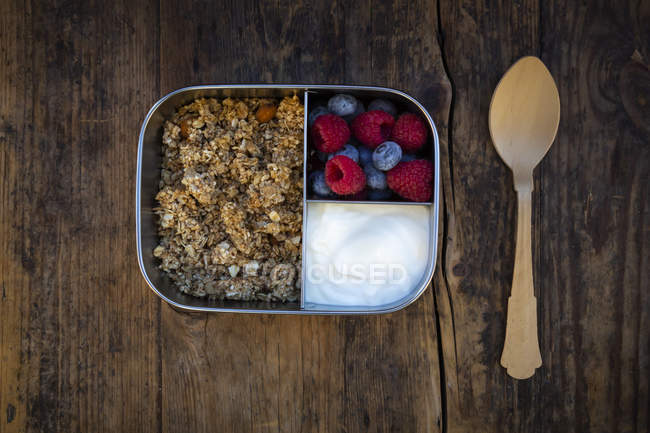 Коробка для сніданків з гранолою, горіхи Лобода, грецький йогурт, чорниця та Малина — стокове фото