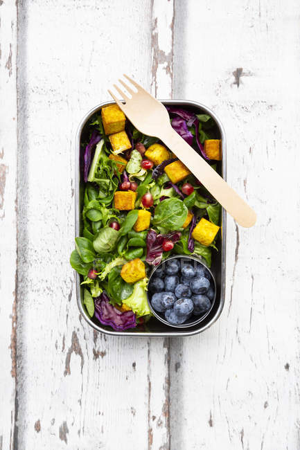 Mixed salad with roasted tofu, red cabbage, pomegranate seeds, blueberries and curcuma in lunch box — Stock Photo