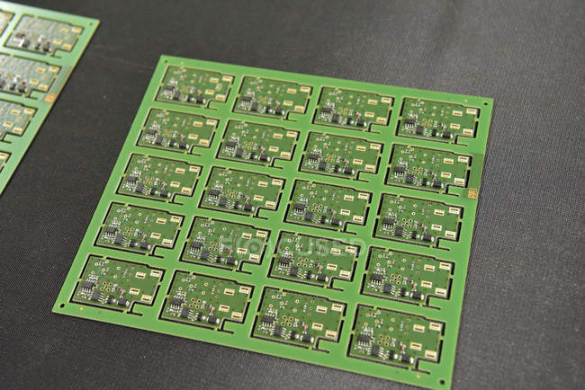Close-up of circuit boards in an electronics factory — Stock Photo
