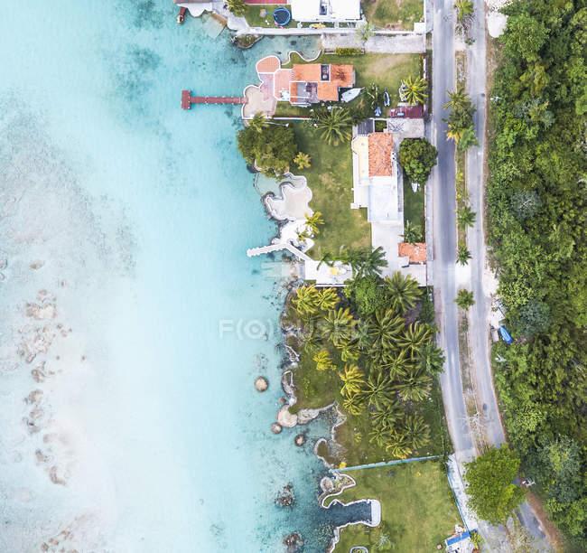 Mexiko, Yucatan, Quintana Roo, laguna di Bacalar, drone immagine — Foto stock