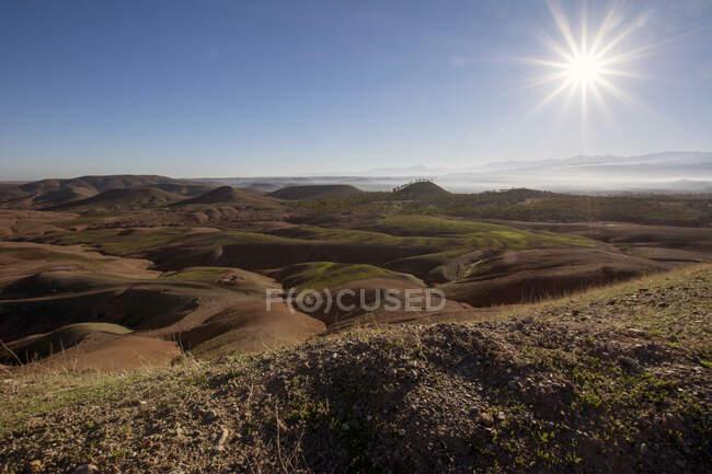 Morocco, Agafay desert against the sun — Stock Photo