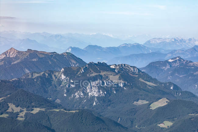Germany, Bavaria, Chiemgau, Bavarian Prealps in the foreground, Alps in the background — Stock Photo