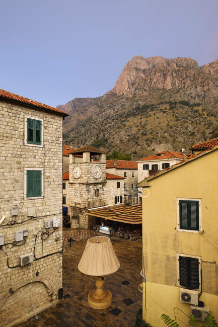 Montenegro, Kotor, old town, main square with clock tower — стокове фото