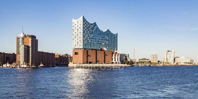 Germany, Hamburg, Elbe Philharmonic Hall seen from the water — Stock Photo