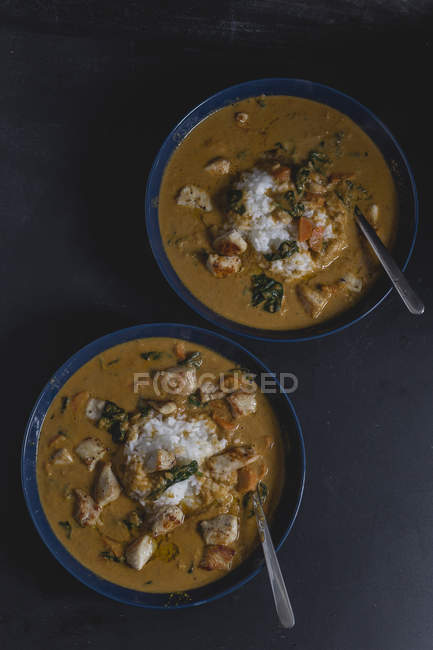 Garam Masala, Chicken curry with baby spinach and jasmine rice in bowls — Stockfoto