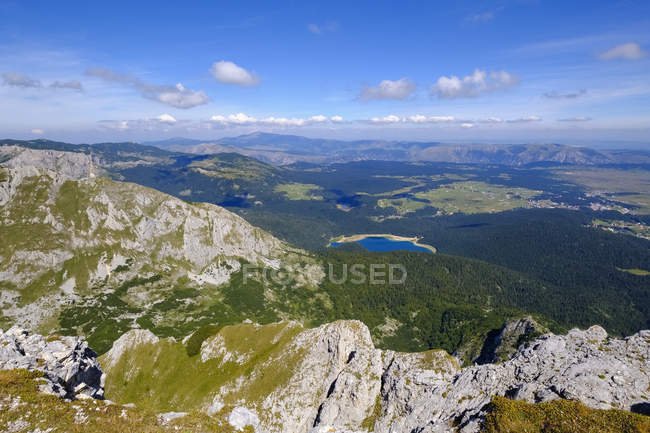 Montenegro, Durmitor National Park, Durmitor massif, view from mountain Savin kuk, Black Lake Crno jezero — стоковое фото