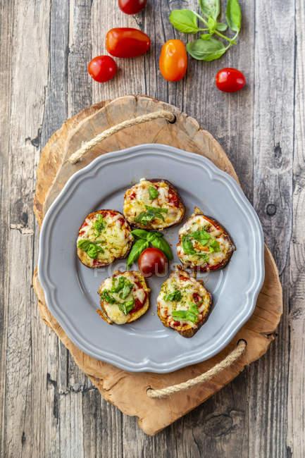 Піца з баклажанами, скибочками баклажан з томатним соусом і сиром, гратновані, низький карбюратор — стокове фото